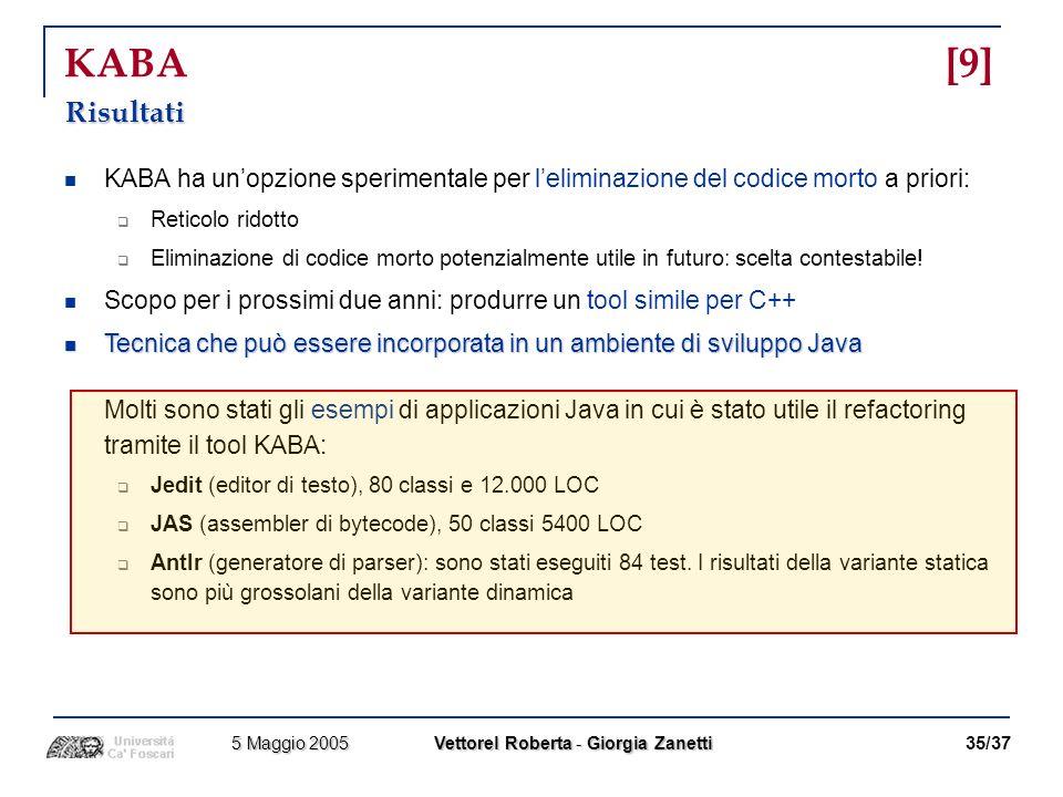 KABA [9] Risultati. KABA ha un'opzione sperimentale per l'eliminazione del codice morto a priori: